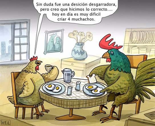 La Gallina y El Gallo ante la crisis economica se comen su futuro, cenan sus huevos.