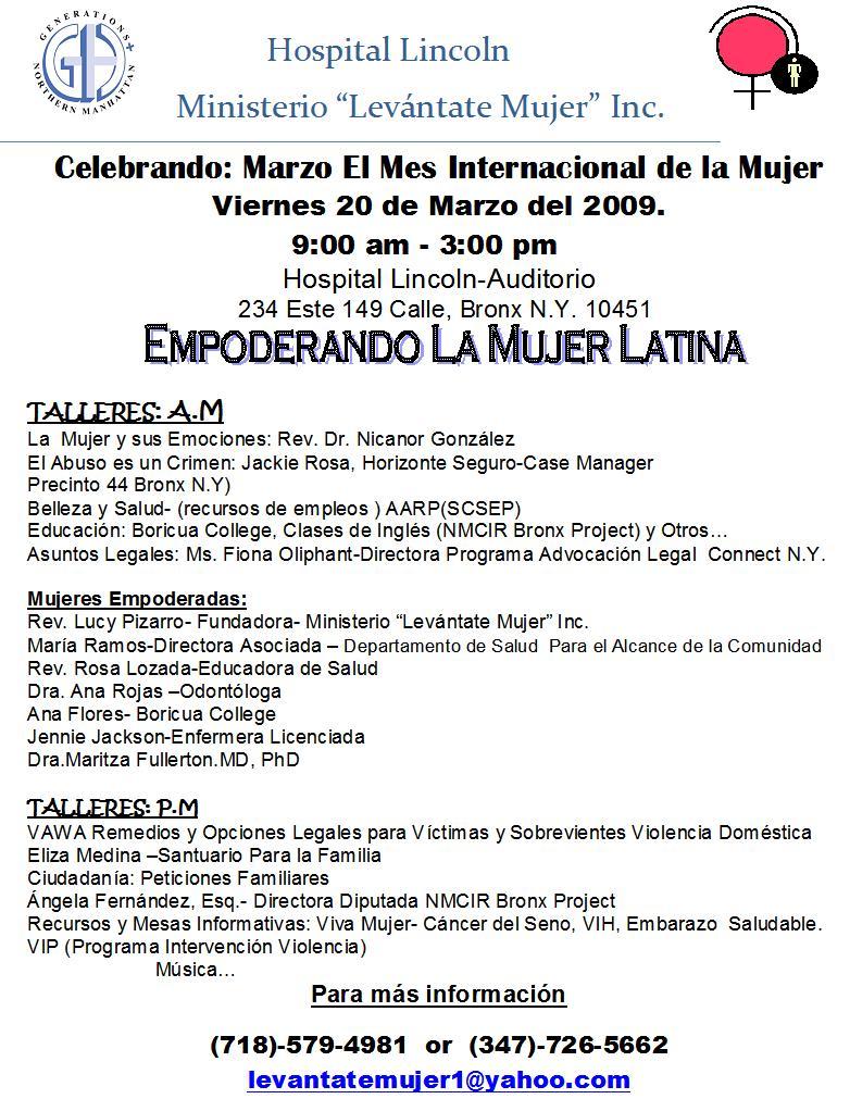 Ministerio Levantate Mujer presenta: Empoderando La Mujer Latina 20 Marzo 2009
